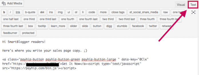 Use WP text editor to paste Payhip Button
