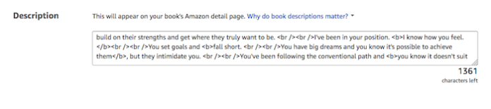 Kindle eBook description for Amazon detail page