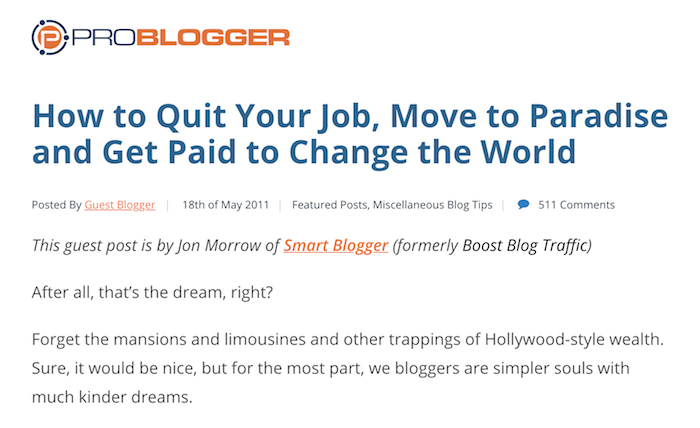 Come abbandonare il lavoro - Problogger