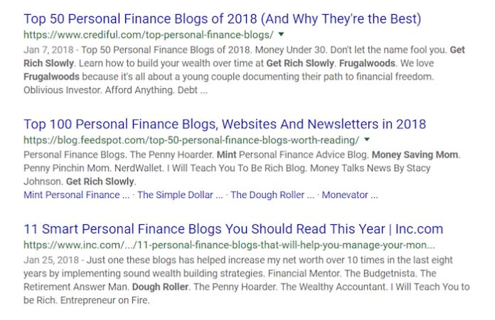 Best Personal Finance Blogs Google Query