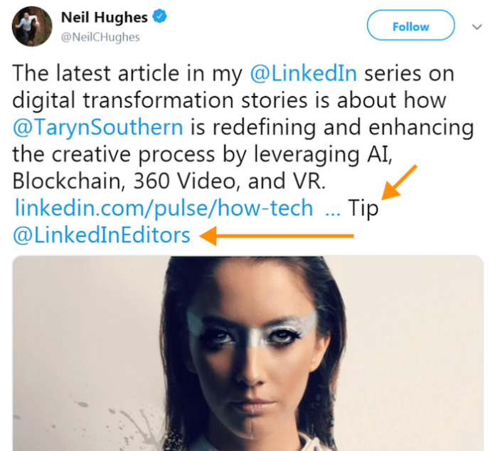 Sharing LinkedIn posts on Twitter