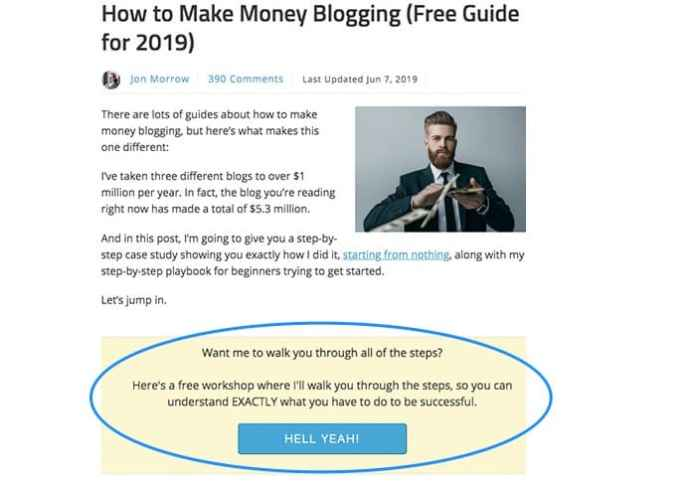 email marketing within post example annotated