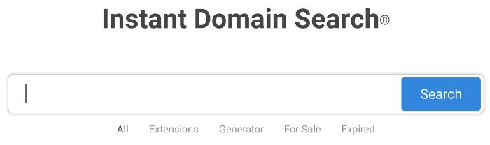 ricerca istantanea del dominio del generatore di nomi di blog