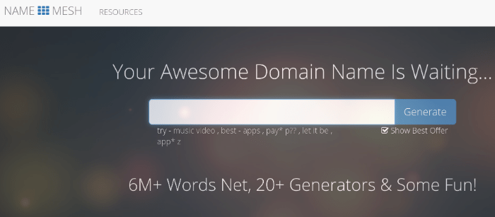blog nome generatore namemesh