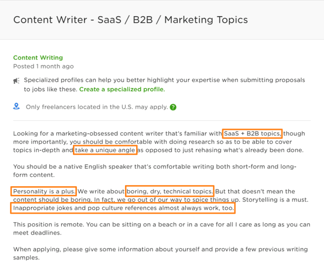 Reverse-engineer writing samples from job ads