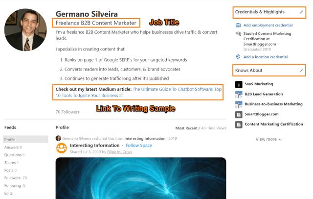 Example of a stellar Quora profile