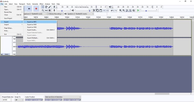 Podcast audacity export mp3