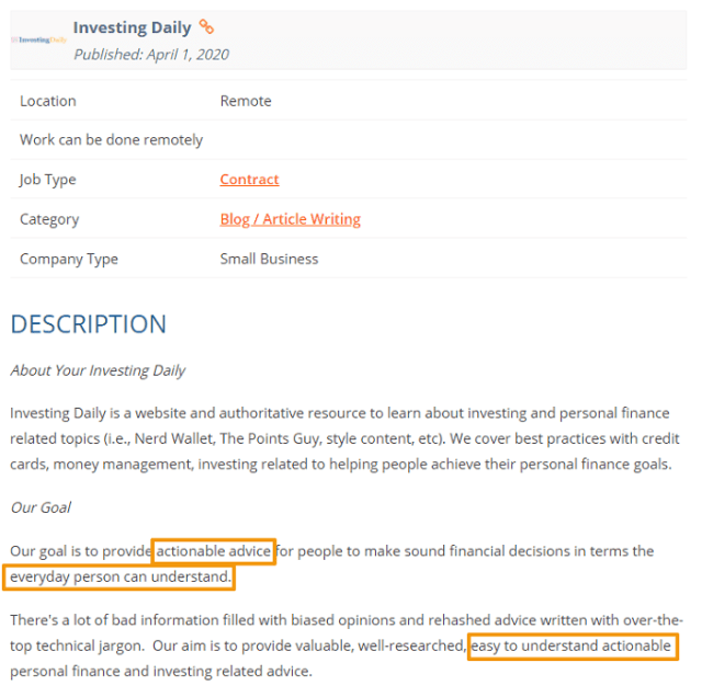 writing sample job ad screenshot finance blog 2