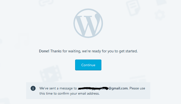 Congratulations - Your WordPress Blog is created