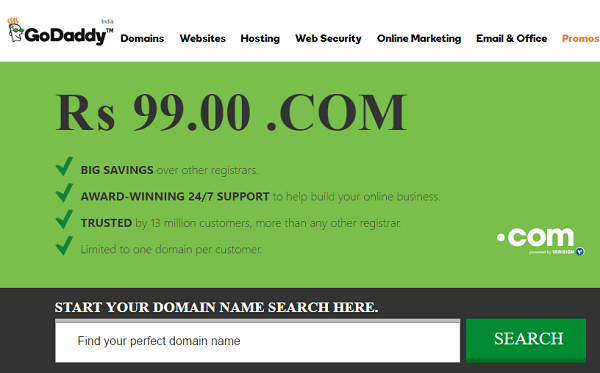 GoDaddy 99 Rs Domain Coupon