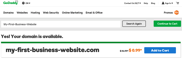 Search GoDaddy 0.99 Domain Name