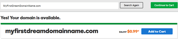 GoDaddy .COM Domain Name Availability