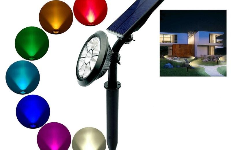 Ηλιακός Αδιάβροχος Πολύχρωμος Προβολέας 9 LED RGB Εξωτερικού Χώρου – Waterproof Solar Colorful Spotlight Lamp