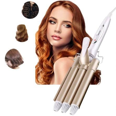 Επαγγελματικό Κεραμικό Τριπλό Σίδερο για Μπούκλες & Κυματιστά Μαλλιά με Tεχνολογία Αρνητικών Ιόντων KM1010