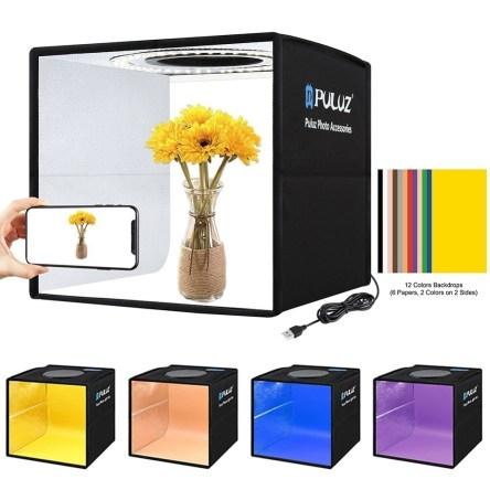 Μίνι Φωτογραφικό LED Στούντιο 25x25cm με 12 Χρώματα Background Puluz