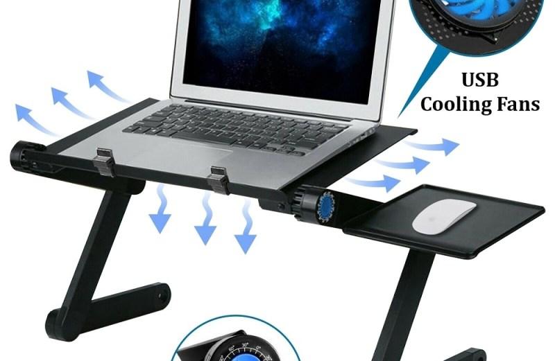 Πτυσσόμενο Τραπεζάκι Αλουμινίου Laptop με 2 Ανεμιστήρες Ψύξης & Βάση Mouse Pad