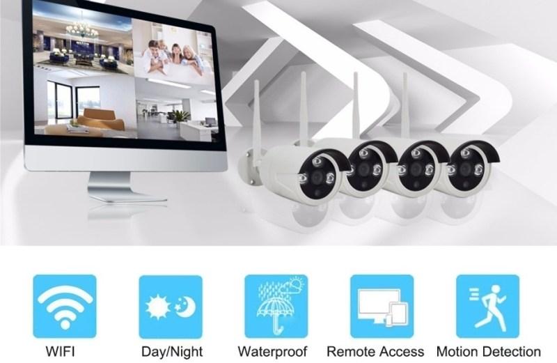 """Πλήρες Κιτ WiFi CCTV IP 4 Κάμερες 1080P HD με Οθόνη 10.1"""" LCD H.265 HEVC NVR K9504W"""