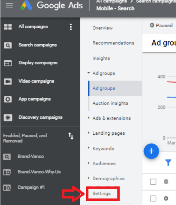 Daycare Advertising Blog Screenshot- Google Ads Interface Settings