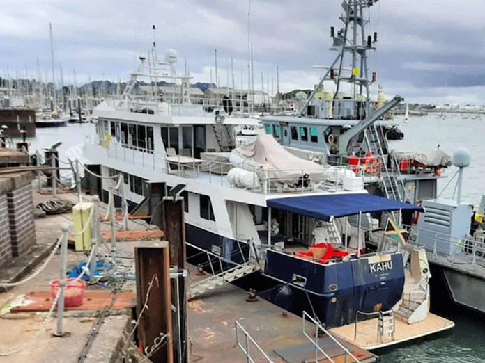 The new-look Kahu moored on the English coast after being seized by police.