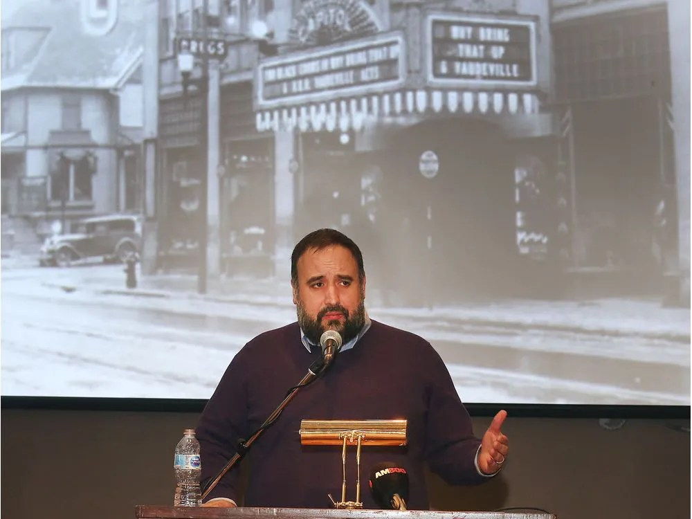 """CUIxWindsor is about working with """"the people doing the heavy lifting."""" Ward 3 Coun. Rino Bortolin, who represents the downtown, is shown speaking at a news conference on March 3, 2020, at the Capitol Theatre."""