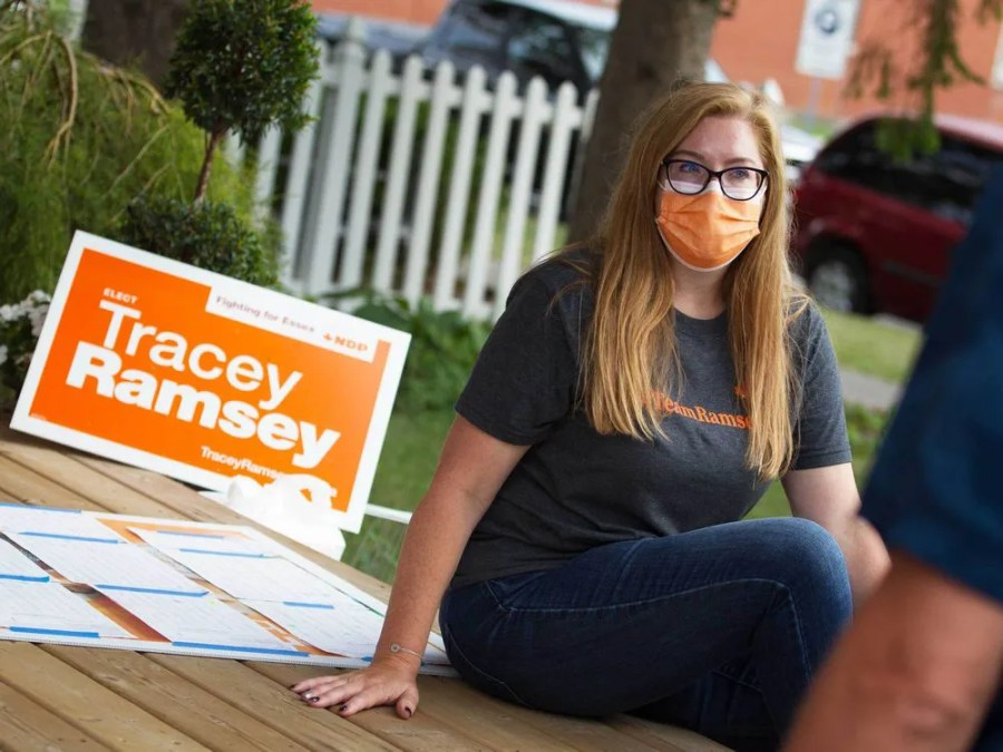Tracey Ramsey, NDP candidate for Essex riding, speaks with optional volunteers in Essex City on Election Day, September 20, 2021.