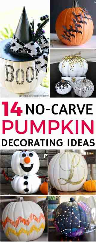 Are you looking for some pumpkin decorating ideas? Have a fun and creative Halloween with these 14 no-carve pumpkin decorating ideas. Perfect for the whole family to get involved! Number 13 is my favorite!