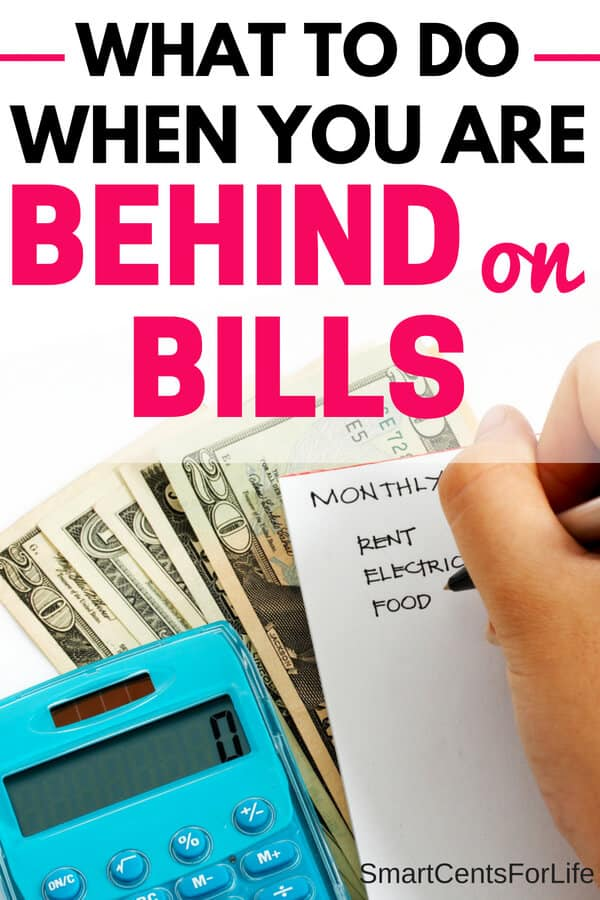 What to do when you can't pay your bills? Getting behind on bills is not a place anyone wants to be. Here are 9 money tips and steps to take when you can't afford to pay your bills. #debt #frugalliving #income #bills #savemoney #debtfree