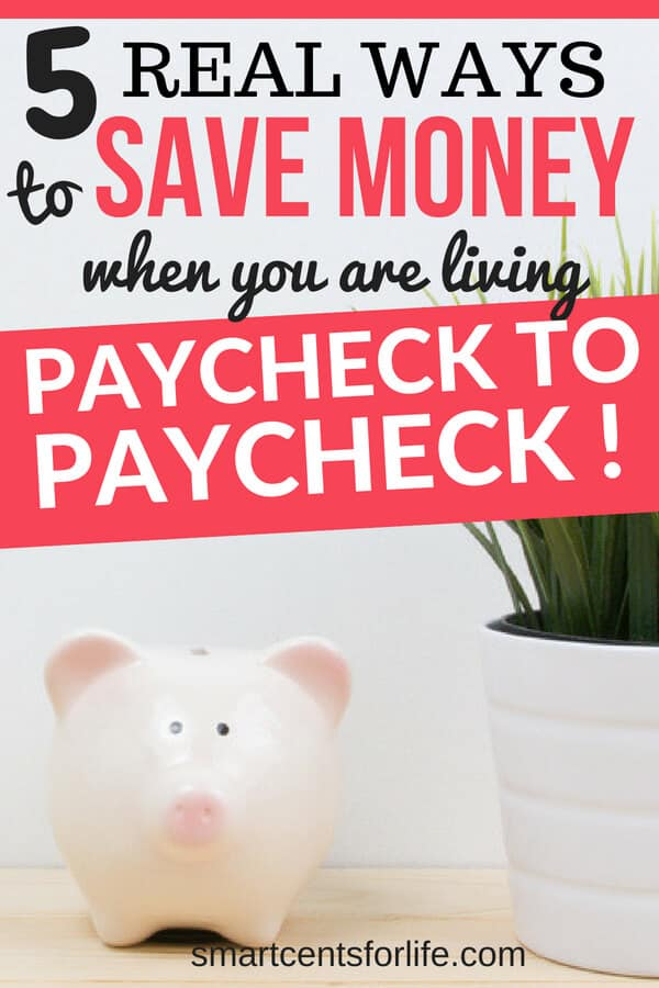 Saving money when you are living paycheck to paycheck can be difficult. Check out these 5 easy ways to save money and stop living paycheck to paycheck! How to pay off debt, money saving tips, budgeting, budget #moneysavingtips #money #finance #personalfinance #savingmoney
