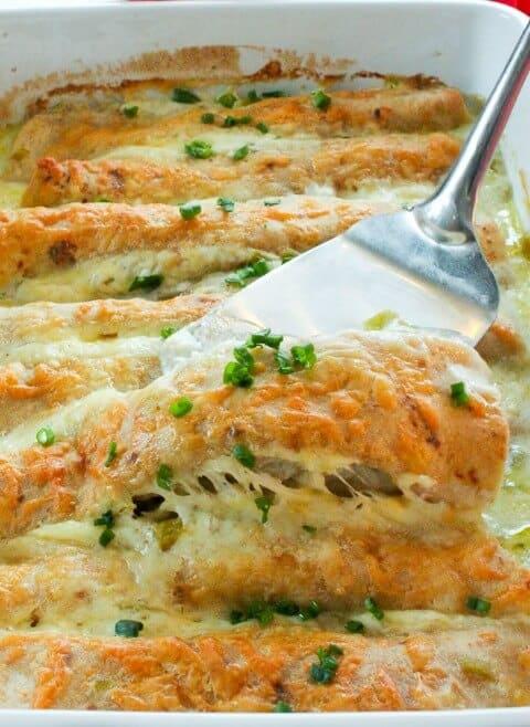healthy white chicken enchiladas