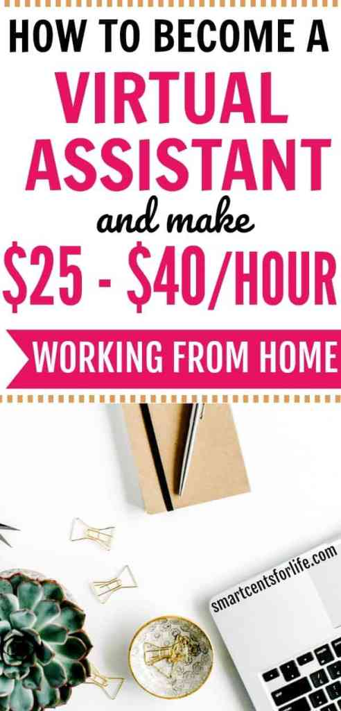 How to become a Virtual Assistant and make money from home. Working as a VA is a flexible WAH job where beginners can earn $25-$40 per hour or more! Find out how you can become a Virtual Assistant and start making money from home today! Virtual assistant jobs | make money online | ways to make money fast | side hustles | extra money | Virtual assistant jobs at home | Work at home | online jobs | legitimate work from home jobs