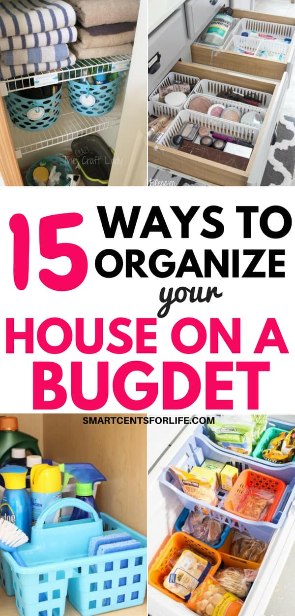 Whether you're looking to organize your kitchen, bathroom, closet, bedroom or pantry, here are 15 dollar store organizing ideas! Organize your entire house on a budget! Inexpensive DIY projects and ideas to declutter and organize everything at home!