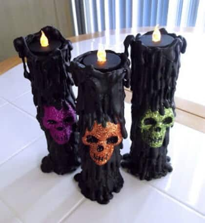 Dollar Store Decorations - Skull Candles