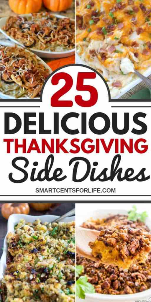 These easy and delicious Thanksgiving side dishes recipes will conquer your Thanksgiving dinner this year! Check out these 25 Thanksgiving side dishes recipe ideas! Including green beans casserole, mashed potatoes, stuffing recipes, veggies, traditional Thanksgiving recipes, make ahead recipes, and new recipes to try this year for a great Holiday meal!