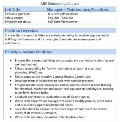 facility manager job description sample gopitch co