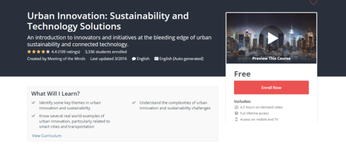 smart city online course, Urban Innovation, Sustainability, udemy