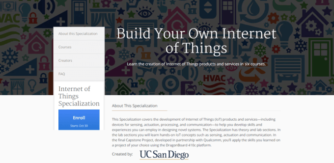 smart city online course, internet of things specialization, coursera