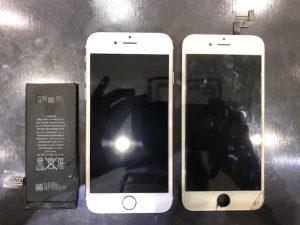 iPhone6Sの画面修理、バッテリー交換