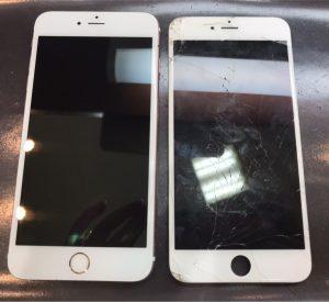 iphone6SPの画面割れ、液晶漏れ、バッテリー交換、スピーカー修理、カメラ修理、カメラレンズ修理、ガラスコーティング
