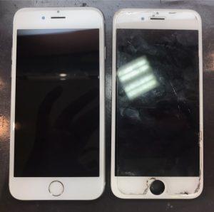iphone6sの画面割れ、バッテリー劣化、ガラスコーティング加工