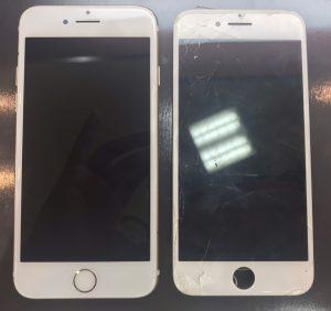 iphone8の画面割れとホームボタンの交換修理