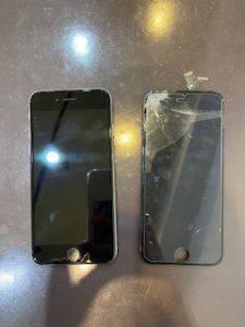液晶画面がバキバキに割れたアイフォン6の画面交換修理
