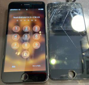 iPhone6s画面割れ修理前後比較