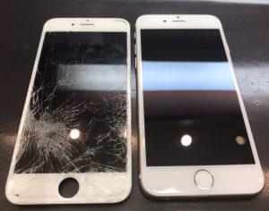 iphone6sの画面割れと液晶漏れの修理