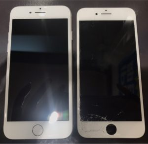 iphone8の画面割れ修理、液晶表示不良