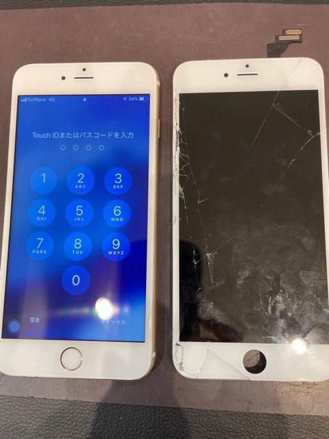 iPhone6P画面割れ【千種区よりお越しのお客様】