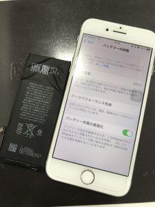 iPhone8、バッテリー交換