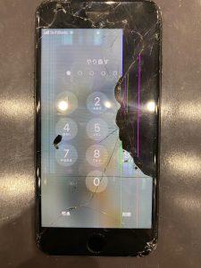 アイフォン7の画面がバキバキに