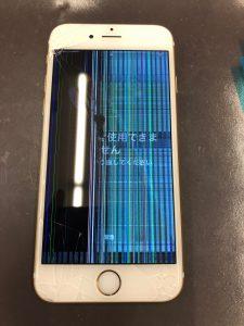 画面の半分に虹色の線がでたiphone6s