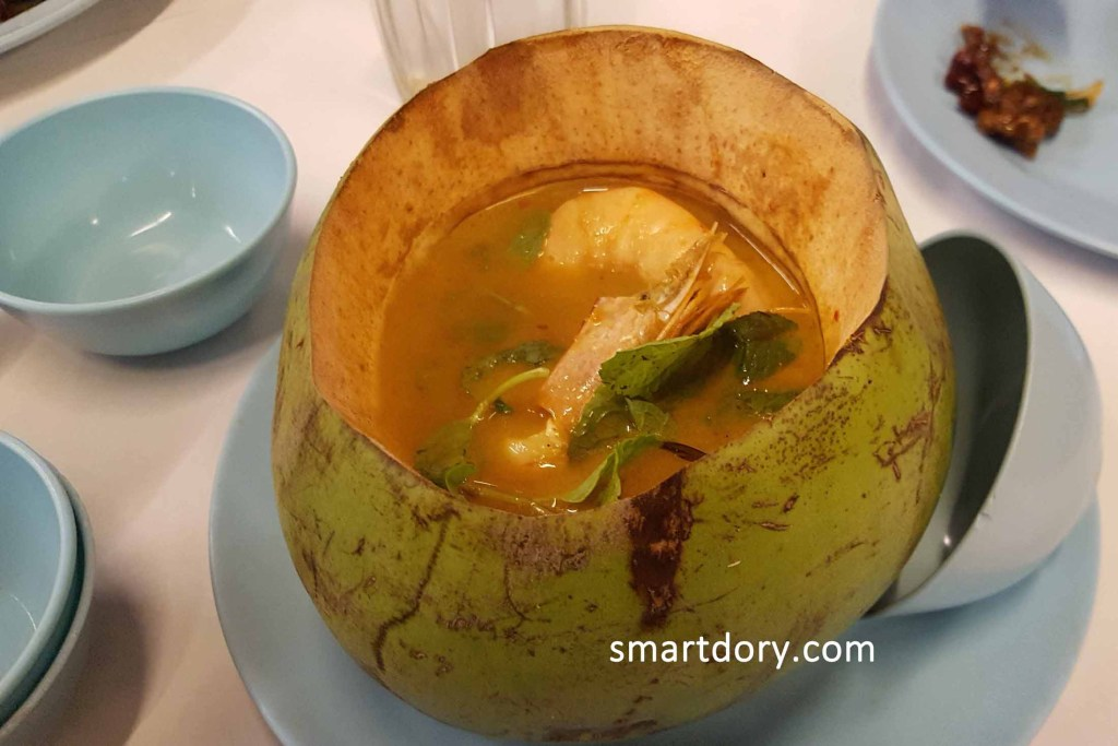 The Tom Yam prawns in coconut shell is a signature dish. The soup is made with coconut water.