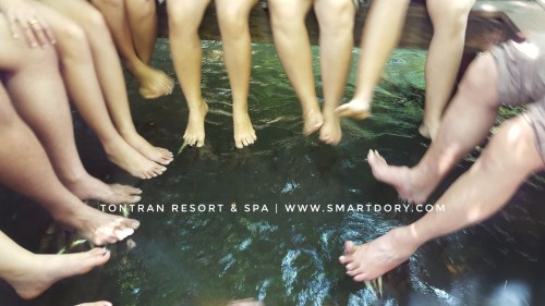 A group of friends trying the fish spa by putting their legs in the water together.